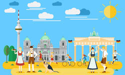 Flat design, Germany's landmarks and icons