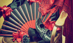 Clothing for Flamenco dance. Black shoes, fan, red