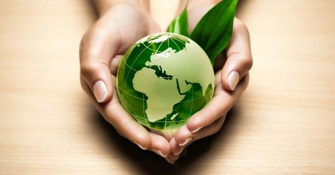 Palms-holding-green-globe