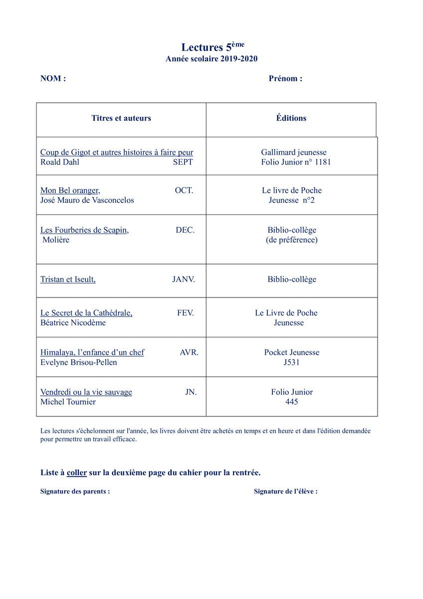Lectures Obligatoires En Francais